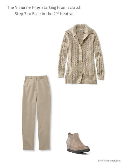 cardigan, pants and boots to add to a casual capsule wardrobe