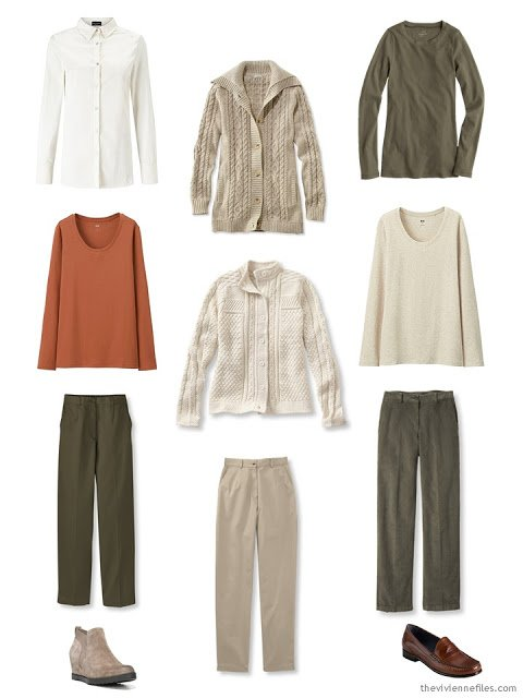 9-piece capsule travel wardrobe, or core of a capsule wardrobe