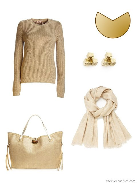 Gold accents for a capsule wardrobe
