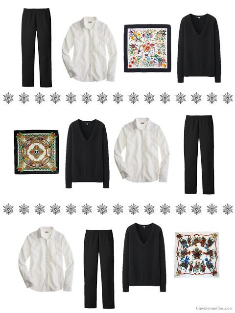 three outfits including a black v-neck sweater and an Hermes scarf