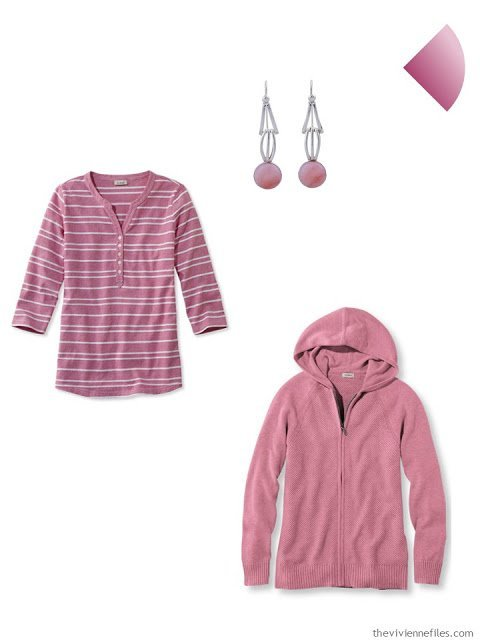 rose earrings, henley and hooded sweater