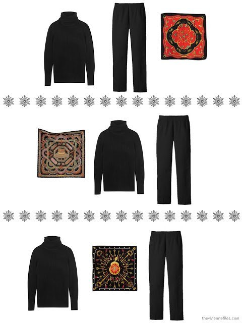 three outfits including a black turtleneck and an Hermes scarf