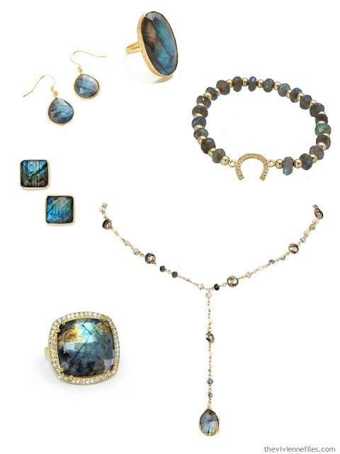 laboradorite jewelry set in gold to accent a capsule wardrobe