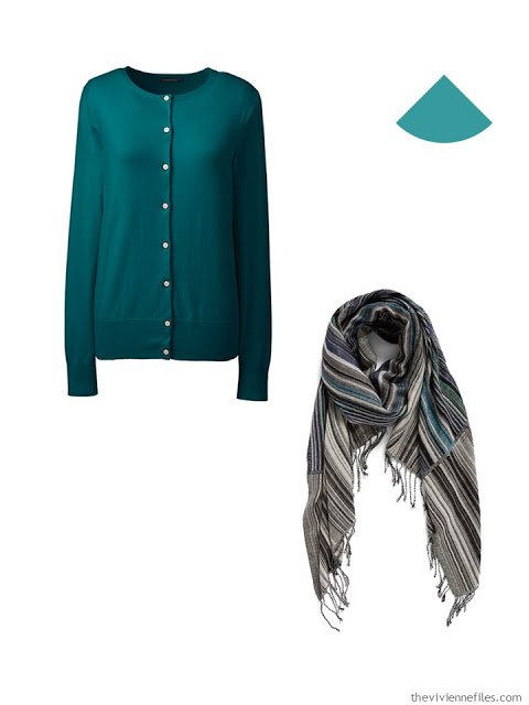 teal cardigan and sweater