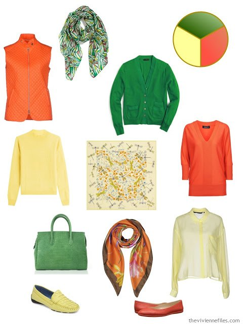 5-Piece French Wardrobe for Autumn 2016 in poppy red, apple green and butter yellow