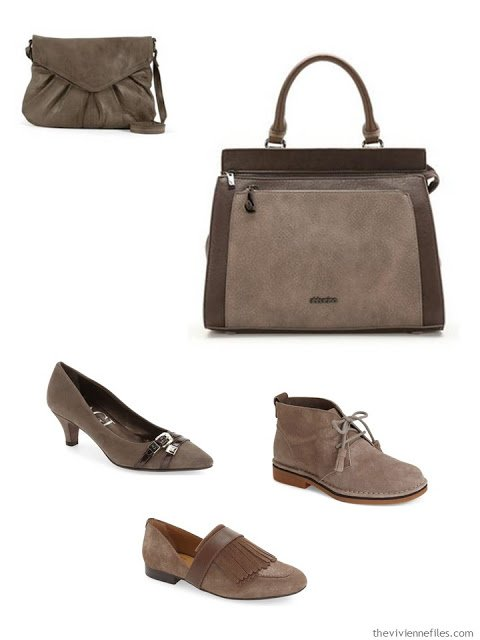 Brown leather accessories for a capsule wardrobe
