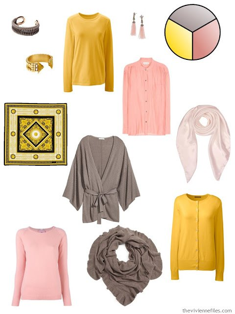 Capsule Wardrobe pieces in yellow, taupe, and rose