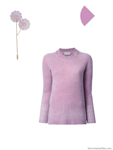 lilac brooch and sweater