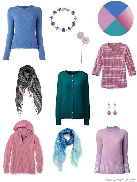 French 5-Piece wardrobe in blue, lilac, rose and teal