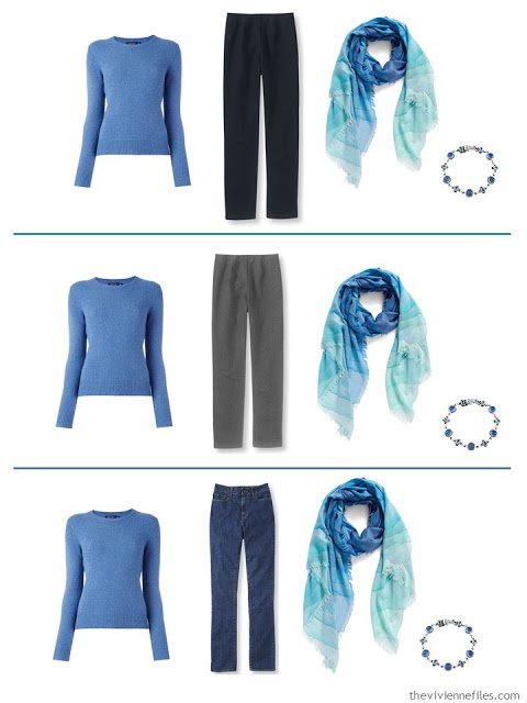 3 outfits with a blue sweater
