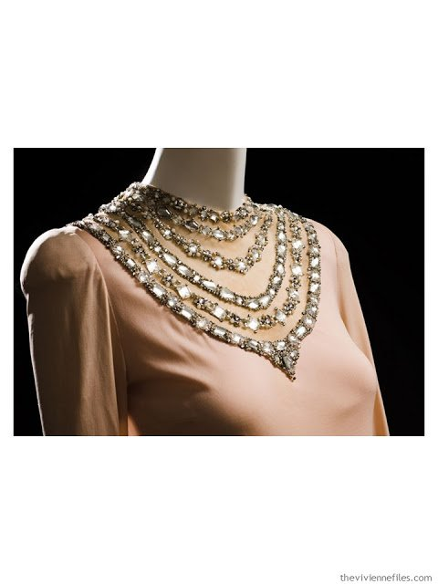 detail of Mainboucher evening dress with jeweled neckline