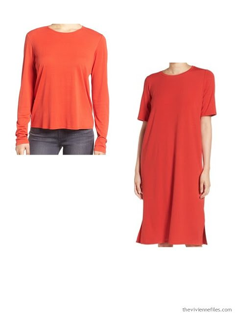 A shirt and dress in red for a capsule wardrobe