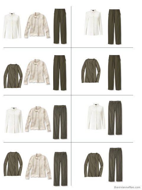 eight outfits from the first 5 pieces of a capsule wardrobe