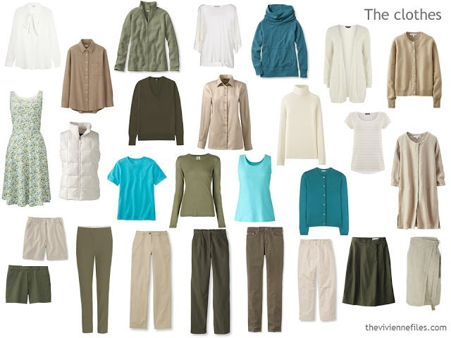 capsule wardrobe based on olive and beige