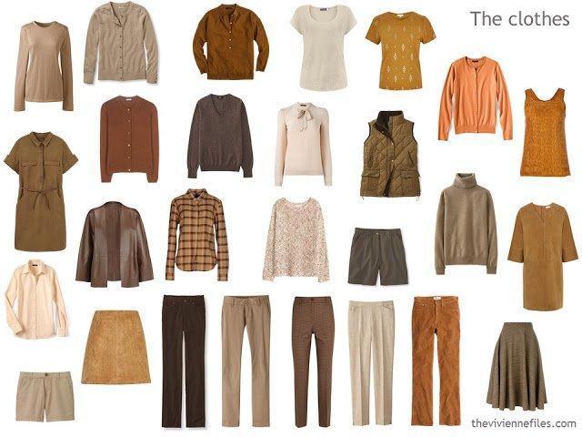 capsule wardrobe in brown, beige and orange