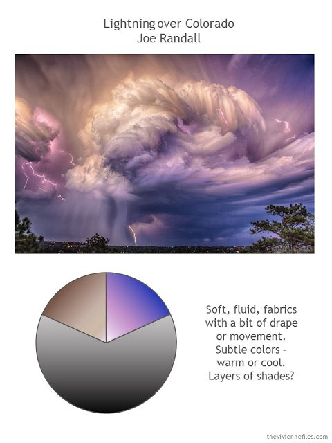 Photograph of Lightning over Colorado by Joe Randall, with color palette and style guidelines