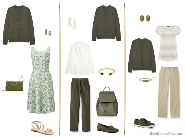 three new capsule wardrobe outfits including an olive cardigan