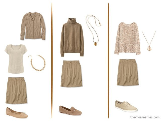 three capsule wardrobe outfits with a khaki skirt