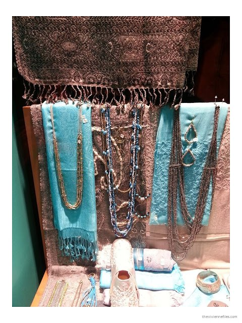 Turquoise and brown accessories - scarves, jewelry and shoes - in the Diwali shop windows in Paris