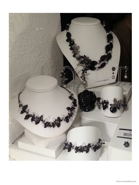 black and white jewelry in the shop windows of Paris