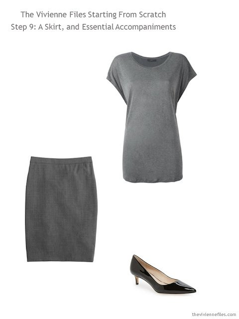 grey blouse and skirt, with black pumps, to add to a capsule wardrobe