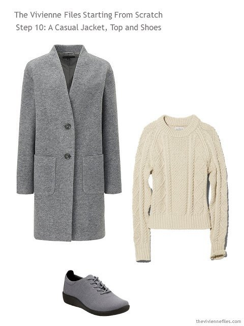 grey coat, natural fisherman's sweater, and grey athletic shoes, to add to a capsule wardrobe