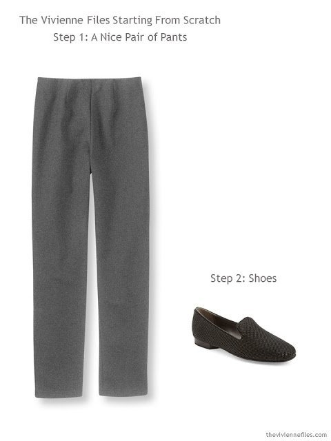 Grey pants and shoes for a capsule wardrobe