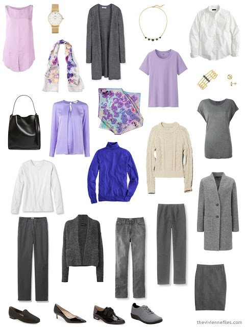 15-piece capsule wardrobe in grey with shades of purple