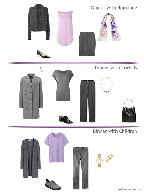 three outfits for dinner, in grey and shades of purple