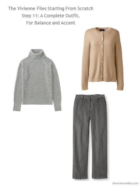 grey sweater, camel cardigan, and grey corduroy pants to add to a grey-based capsule wardrobe