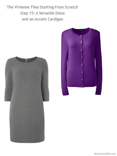 a classic grey dress and accent orchid cardigan to add to a capsule wardrobe