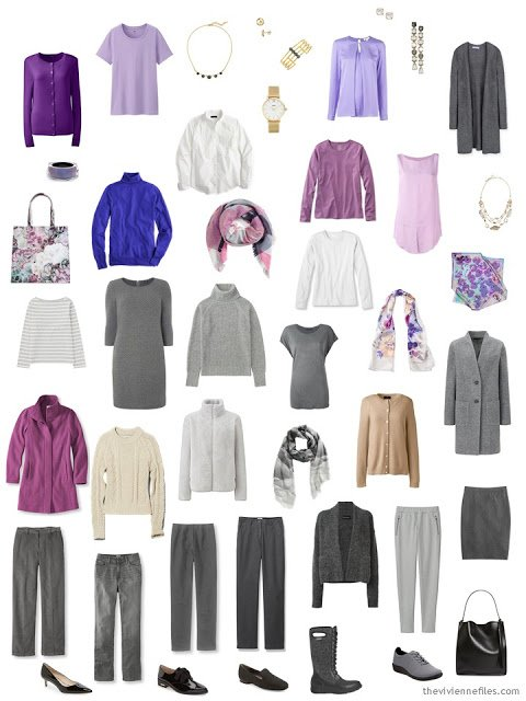 25-piece capsule wardrobe in grey, shades of pink and purple, with accents of ivory and camel