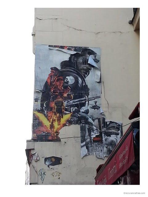 Paris street art layered science fiction movie images