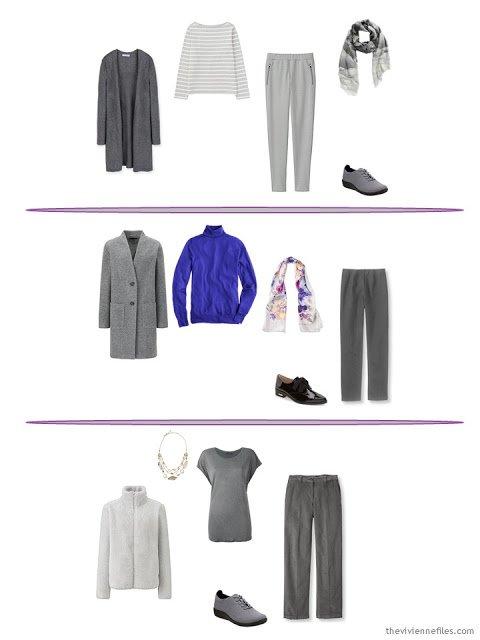 three winter oufits taken from a capsule wardrobe based in grey