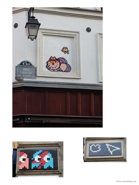 Paris street art pixellated images