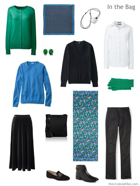 "a travel capsule ""six-pack"" wardrobe in black, white, blue and green"