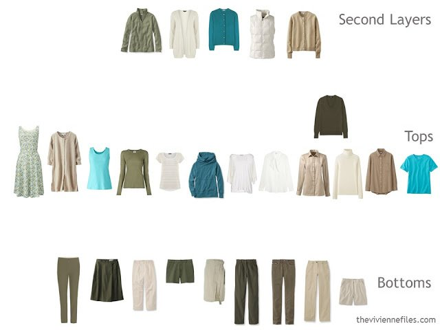 capsule wardrobe in olive and beige evaluated on type of garment