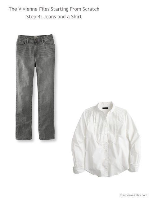 Grey jeans and a white shirt for a capsule wardrobe