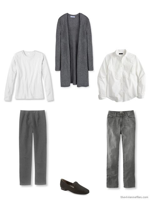 A core wardrobe in grey and white