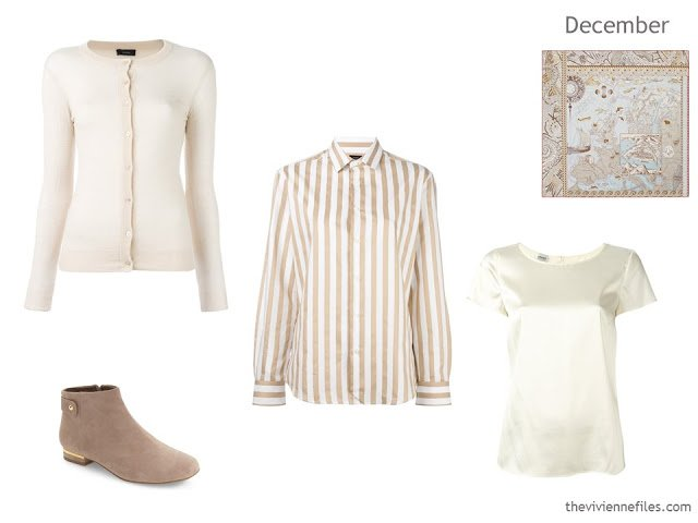 additions to a capsule wardrobe in beige, ivory and soft blue