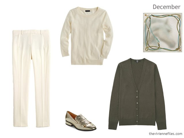 capsule wardrobe additions of ivory pants and sweater, olive cardigan and gold loafers