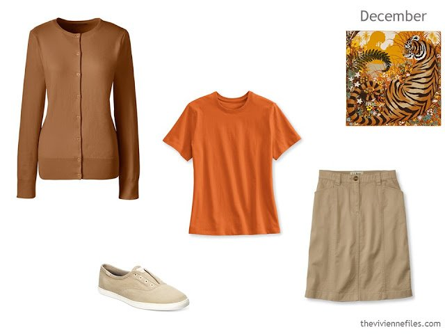 additions to a capsule wardrobe in brown, beige and orange