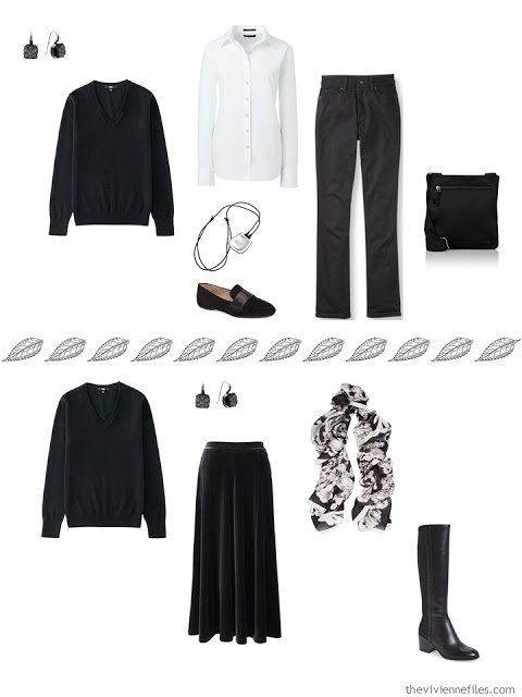 2 outfits from a capsule wardrobe, including a black v-neck sweater