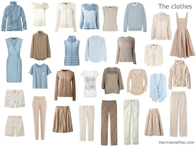 a capsule wardrobe in beige, ivory and soft blue