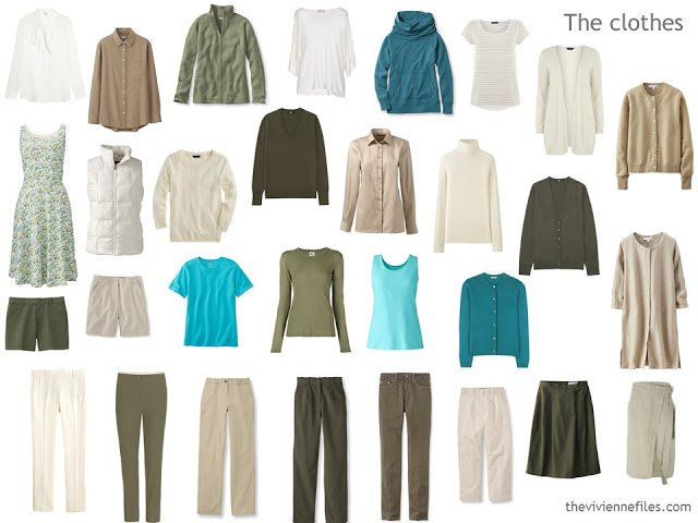 30 piece capsule wardrobe in olive, ivory, beige and turquoise