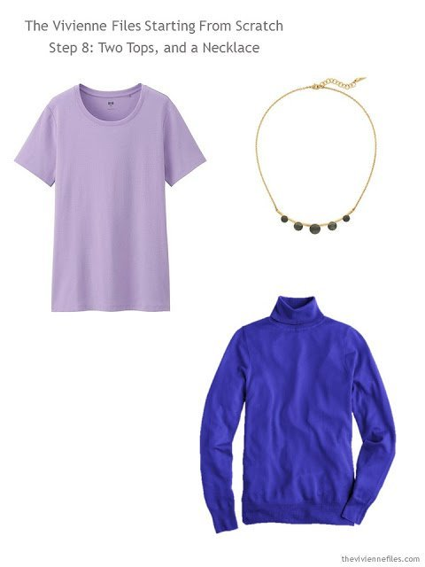 lavender tee and deep purple sweater, with necklace, to add to a capsule wardrobe