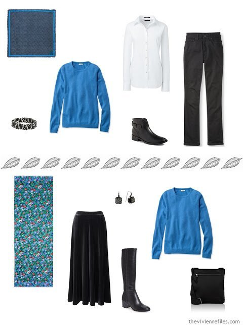 2 outfits from a capsule wardrobe, including a blue sweater