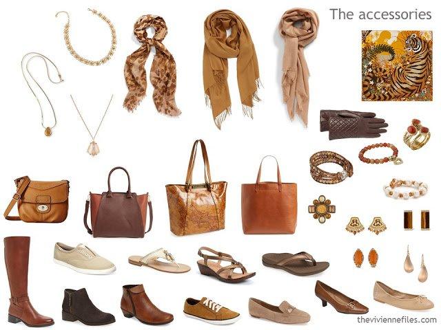 accessory wardrobe in brown, beige and orange