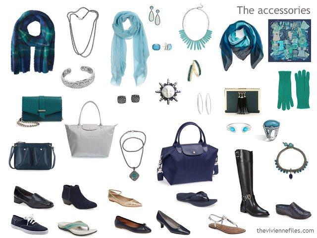 Accessory capsule wardrobe in navy, silver and turquoise
