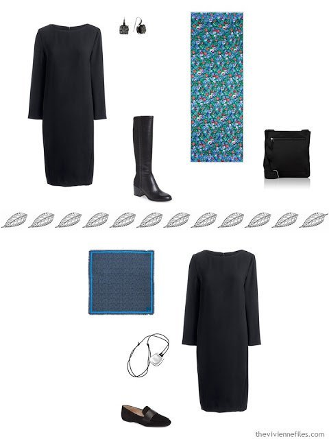 2 outfits from a travel capsule, including a black dress